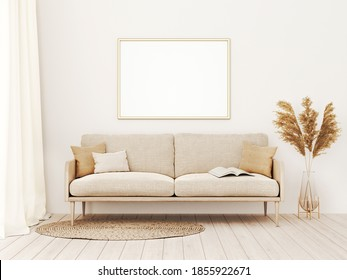 Horizontal frame mockup in warm living room interior with beige sofa, pillows, open book, dried Pampas grass and boho style decoration on empty wall background. 3D rendering, illustration