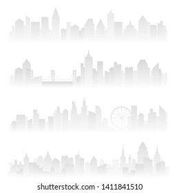 Horizontal header banners of foggy urban city with skyscrapers in haze. Soft grey  illustration.