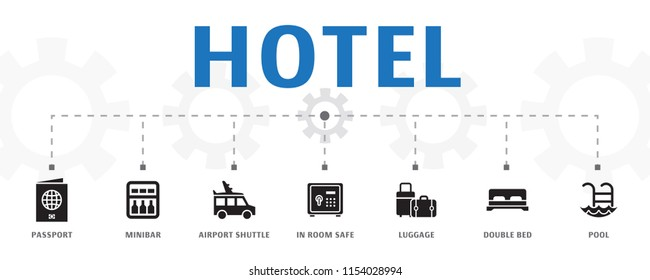 horizontal Hotel banner concept template with simple icons. Contains such icons as passport, minibar, airport shuttle and more