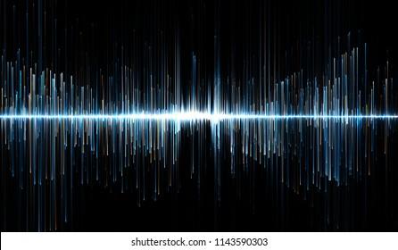 Horizontal illustration of blue and orange soundwaves. 3d illustration