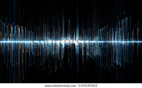 Horizontal illustration of blue and orange soundwaves. 3d illustration