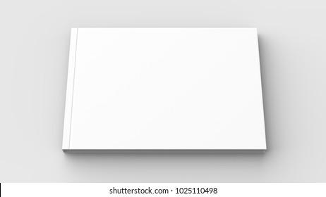 Horizontal - landscape hardcover brochure, book or catalog mock up isolated on soft gray background. 3D illustrating.