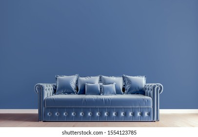 Horizontal mock-up poster, modern interior design, tufted sofa, blue wall background with free space above on top, 3d render, 3d illustration