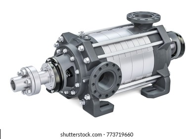 Horizontal multistage centrifugal pump, 3D rendering isolated on white background