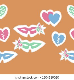 Horizontal ornament with venetians masks,flowers, hearts, dashed line, label. Hand drawn.