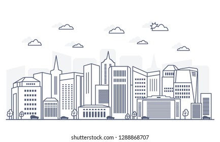Horizontal panorama of city with skyscrapers on white background