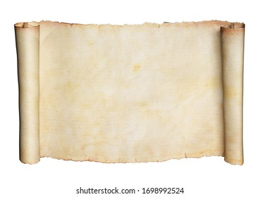 Horizontal paper scroll or manuscript isolated on a white background. Clipping path included. 3d illustration