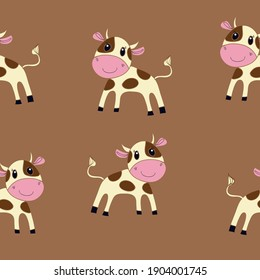 Horizontal pattern  cow calf. Hand drawn.