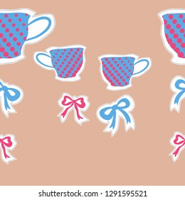 Horizontal pattern  of  cups, halftone, bows, dashed line, label . Hand drawn.