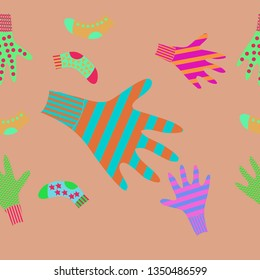Horizontal pattern of mittens, socks with  stripes , ornaments. Hand drawn.
