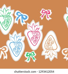 Horizontal pattern of  strawberry , bows, leaves, spirals, dashed lines, labels. Hand drawn.