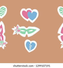 Horizontal pattern with venetians masks,flowers, hearts, dashed line, label. Hand drawn.