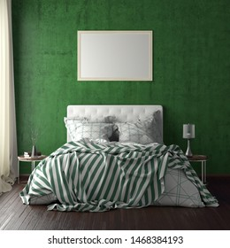 Horizontal poster frame mockup above the bed on green wall in bedroom. Soft morning light through the curtain. 3d illustration