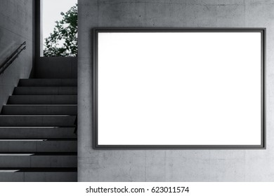Horizontal Poster Mockup in a industrial interior. 3d render