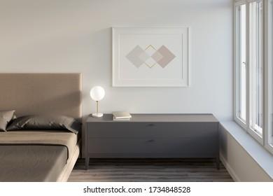 Horizontales Poster an einer weißen Wand im Schlafzimmer mit Fenster, Schrank, Parkettboden und Bett. Vorderansicht. Mockup. 3D-Darstellung