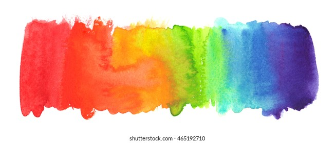 Horizontal rainbow gradient painted in watercolor on white isolated background