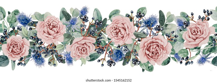 Horizontal seamless composition of watercolor flowers