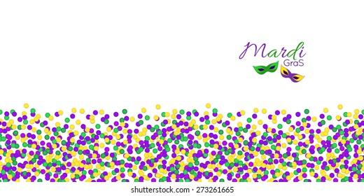 Horizontal Seamless pattern. Mardi Gras Carnival confetti border, masks in purple, green and yellow. Carnival Party raster copy.