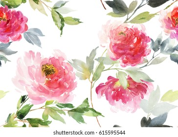 Horizontal seamless pattern with peonies on a white background. Watercolor flowers are large.