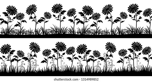Horizontal Seamless Patterns, Summer or Spring Landscapes, Isolated on White Background Flowers and Grass Black Silhouettes.