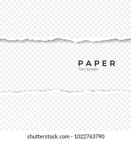 Horizontal seamless torn paper edge. Rough broken border of paper stripe. illustration isolated on transparent background