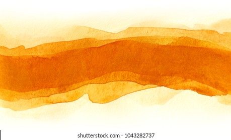Horizontal strip red of watercolors. red-yellow overflows orange ,multi-layer smears