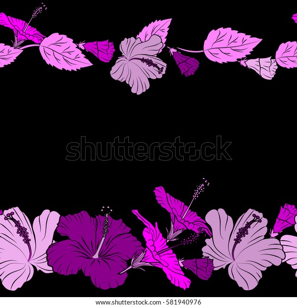 Horizontal summer hawaiian seamless pattern with tropical plants and pink, magenta and purple hibiscus flowers with copy space (place for your text).