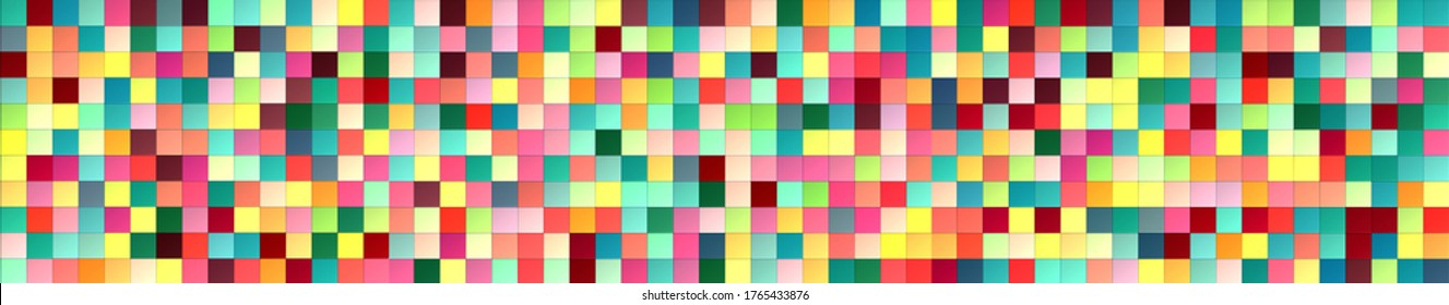 Horizontal texture panel made of multi-colored square tiles. texture and endless seamless pattern. 3D render