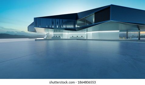Horizontal view of empty cement floor with steel and glass modern building exterior.  Early morning scene. Photorealistic 3D rendering.