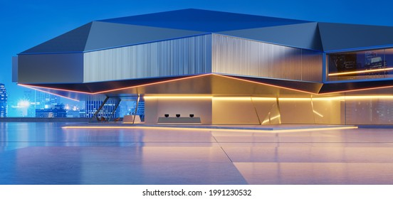Horizontal view of empty cement floor with steel and glass modern building exterior.  Night scene. Photorealistic 3D rendering.