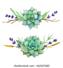 horizontal watercolor sets of succulents, leaves and old branches. For invitations, greeting cards, covers, frames, banner and other