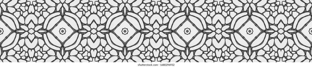Horizontally seamless design. Mosaic tile. Ornamental Geometry. Natural Colors. Embroidery print Indian Tribal Art. DIY effect art. Kaleidoscope Art. Floral Pattern. Floral Design.