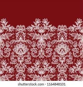 Horizontally seamless red lace border background with floral pattern