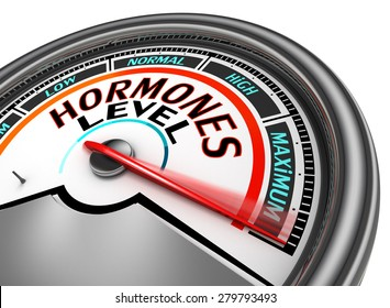 Hormones level conceptual meter indicate maximum, isolated on white background
