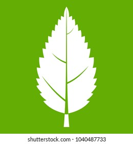 Hornbeam leaf icon white isolated on green background. illustration