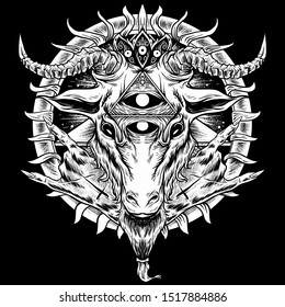 Horned baphomet upside down cross hands pentagram satanic occult