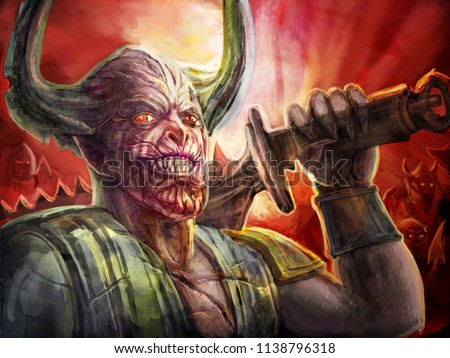 Horned Demon Knight Big Sword On Stock Illustration Royalty Free