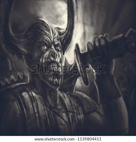 Royalty Free Stock Illustration Of Horned Demon Knight Big Sword On
