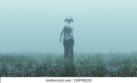 Horned Demon Walking Away in a Black Pant Suit  Futuristic Haute Couture Abstract Demon Foggy Watery Void with Reeds and Grass background Front View 3d Illustration 3d render