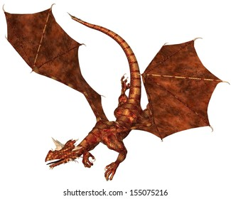 Horned dragon with red metallic scales swooping to attack, 3d digitally rendered illustration