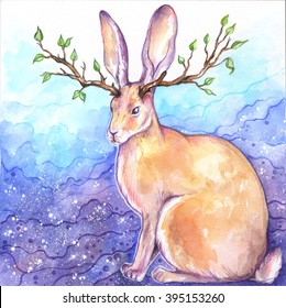Horned rabbit colored poster. Bunny with horns of branches; watercolor fairy tale animal illustration - Jackalope