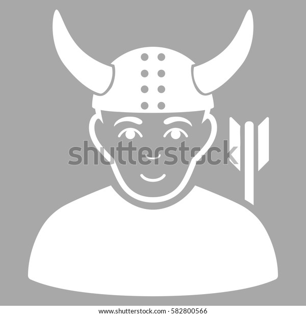 Horned Warrior glyph icon. Flat white symbol. Pictogram is isolated on a silver background. Designed for web and software interfaces.