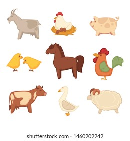 Horny goat, hen that sits on eggs, chubby pig, yellow chickens, brown horse, colorful cock, spotted cow, furry goose and soft fluffy sheep isolated  illustrations set on white background.