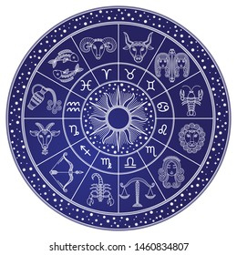 Horoscope and astrology circle zodiac with twelve signs raster. Start and images of leo, scorpion and virgo, libra and cancer. Aquarius and gemini