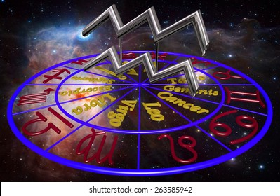 Horoscope zodiac 3d sign Acuario. 3d illustration on background of a galaxy