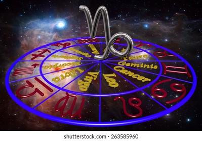 Horoscope zodiac 3d sign Capricornio. 3d illustration on background of a galaxy