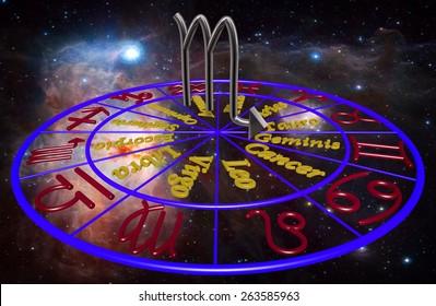 Horoscope zodiac 3d sign Escorpio. 3d illustration on background of a galaxy