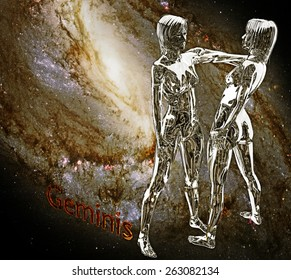 Horoscope zodiac 3d sign Geminis. 3d illustration on background of a galaxy