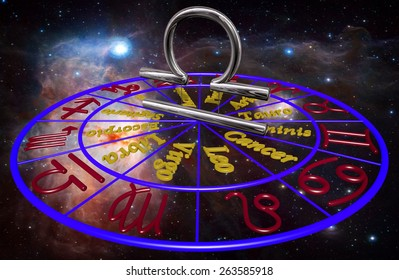 Horoscope zodiac 3d sign Libra. 3d illustration on background of a galaxy