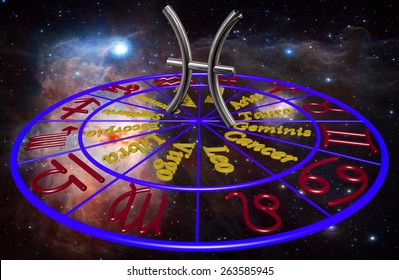 Horoscope zodiac 3d sign Piscis. 3d illustration on background of a galaxy